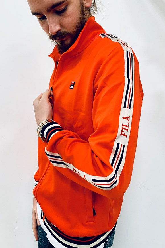 Fila - Orange sweatshirt with zip and side bands