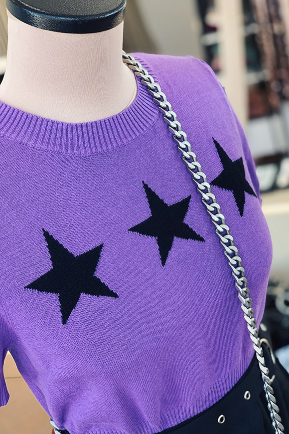Glamorous - Purple knit top with black stars