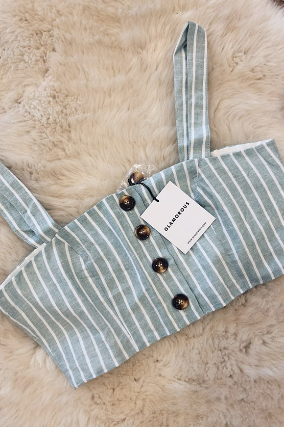 Glamorous - Striped linen top with buttons