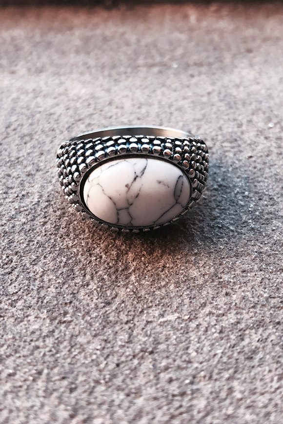 Calibro Shop - Round white stone ring