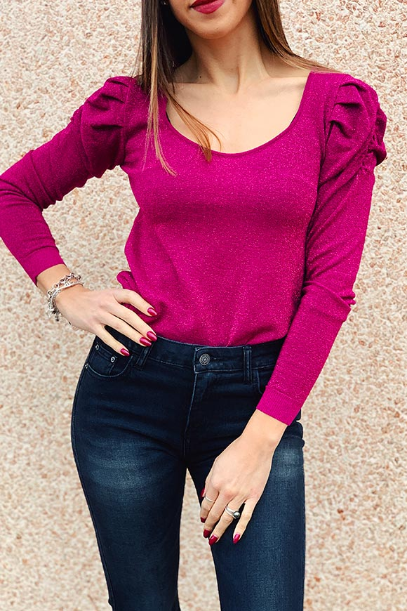 Kontatto - Fuchsia sweater with glitter curled shoulder straps