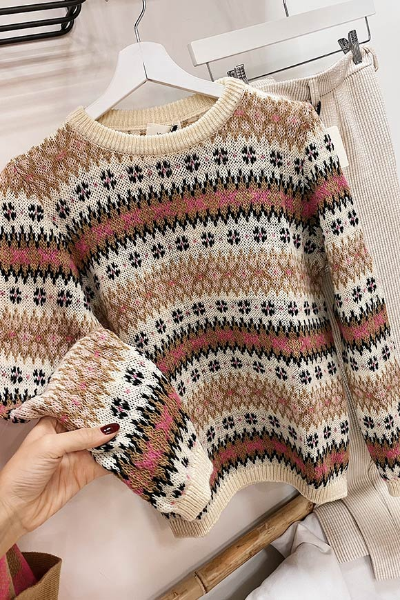 Beige and pink inlaid sweater