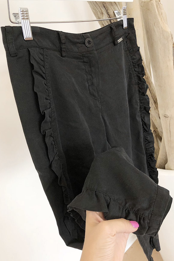 BSB - Soft black trousers with side rouche