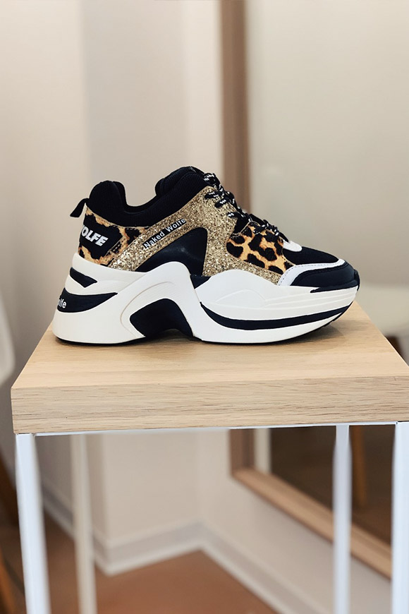 Naked Wolfe - Gold glitter Leopard Track sneakers