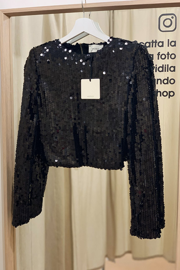 Vicolo - Black sweater in round sequins