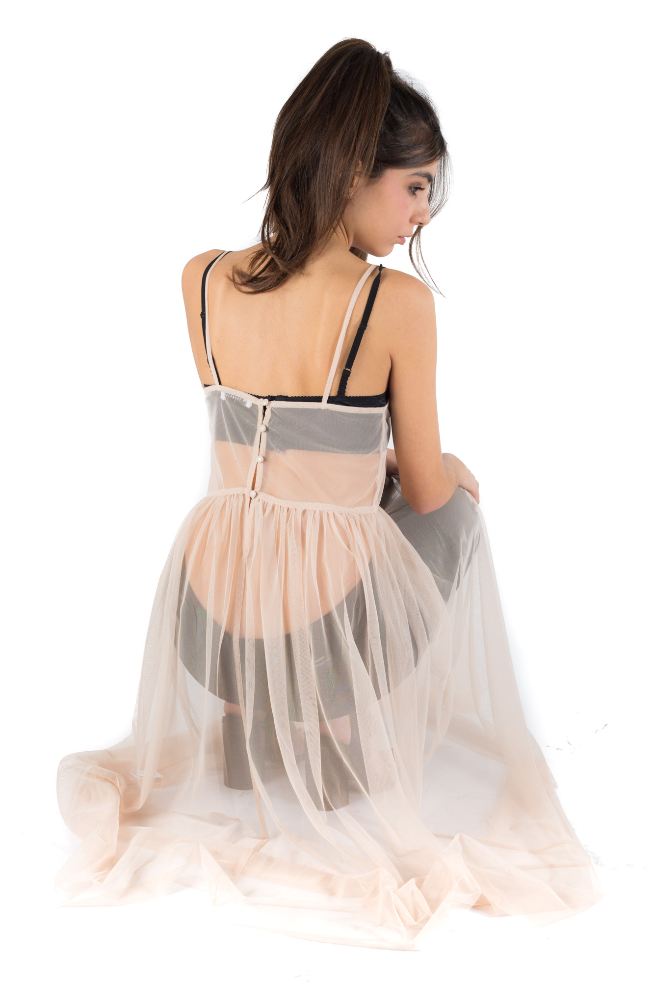 Glamorous - See-through sleeveless dress with back buttons