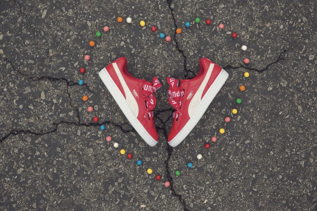 puma basket heart donna rosse