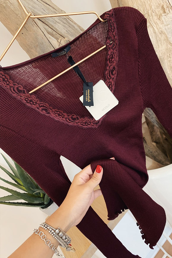 Vicolo - Burgundy wool and silk sweater with lace