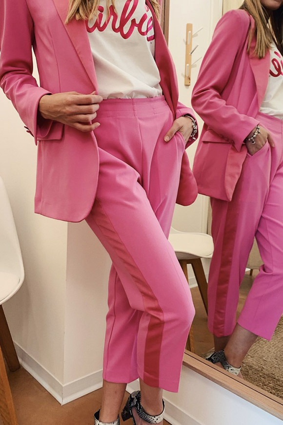 Vicolo - Fuchsia tailored trousers with semi-glossy band