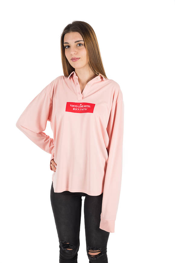 White - Pink polo shirt with contrasting red print