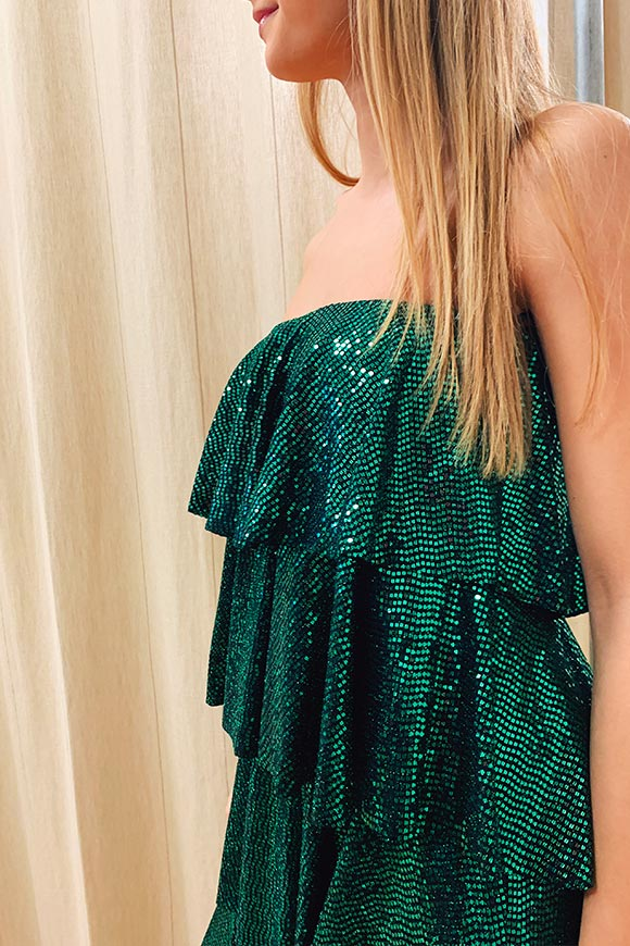 Kontatto - Emerald dress with sequined flounces