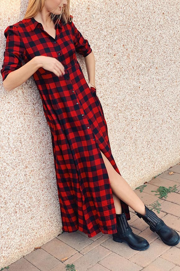 Vicolo - Red and black plaid pinafore dress