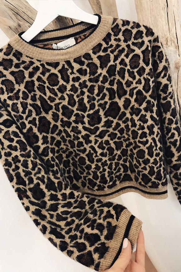 rivenditore di vendita cea77 0b96b Maglione girocollo corto leopardato