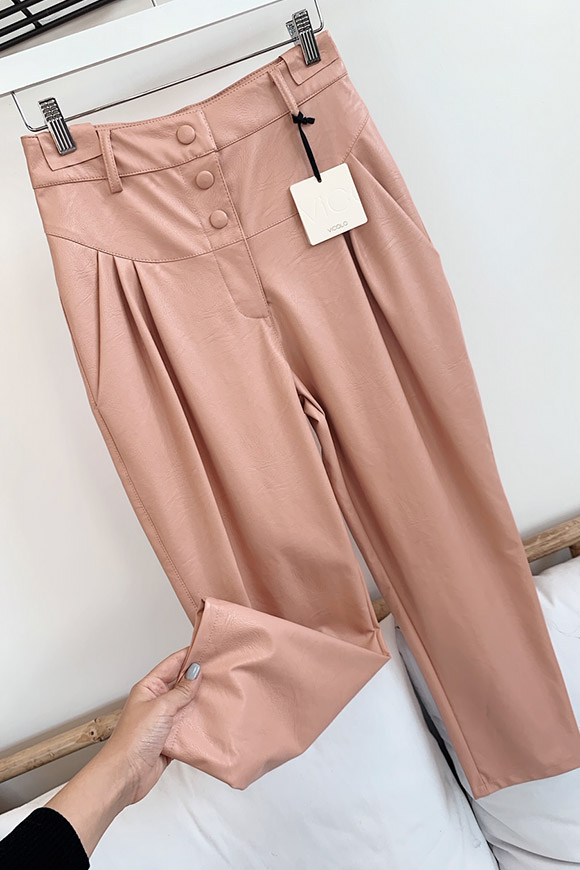 Vicolo - Balloon pink faux leather trousers