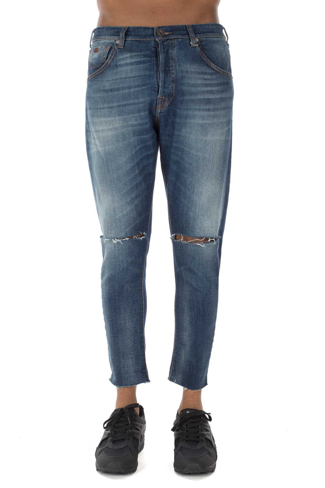 Berna - Skinny Blue Jeans with Cuts