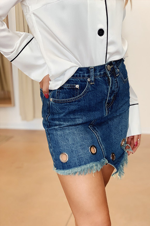 Glamorous - Jeans skirt with fringed circles