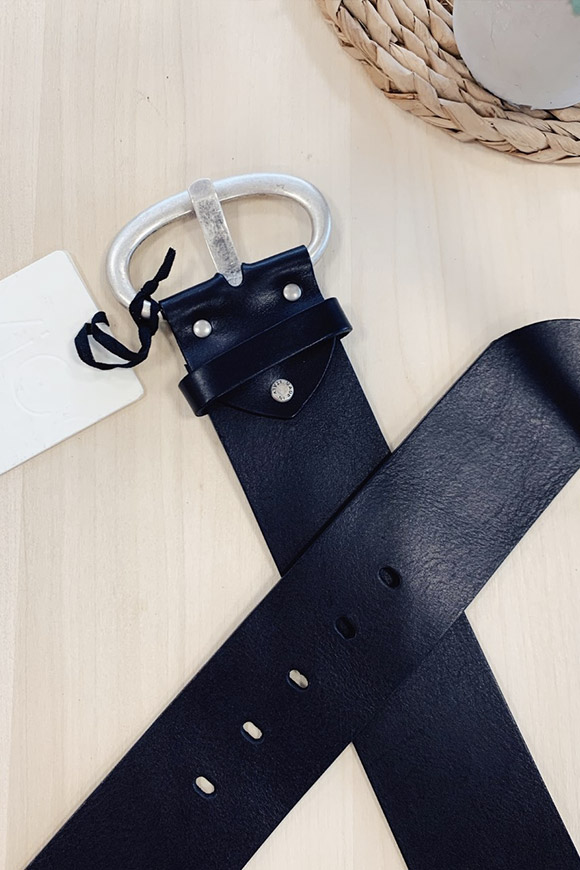 Vicolo - Black high belt with oval buckle