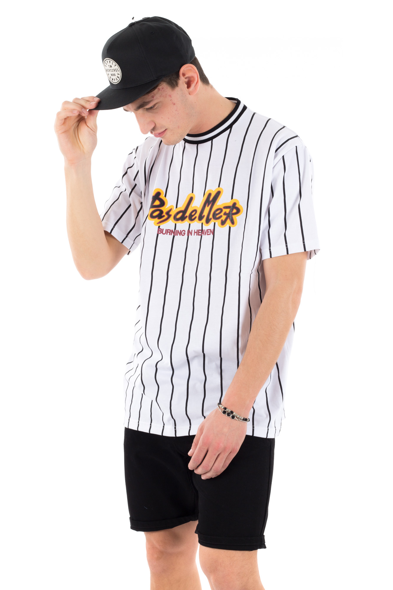Pas De Mer - Baseball-style striped t-shirt