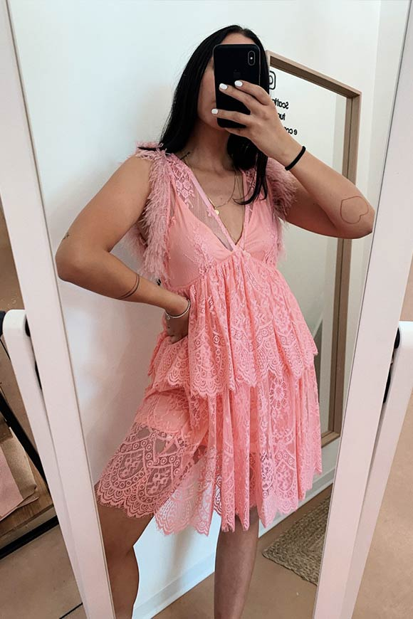 Aniye By - Pink lace plumette dress
