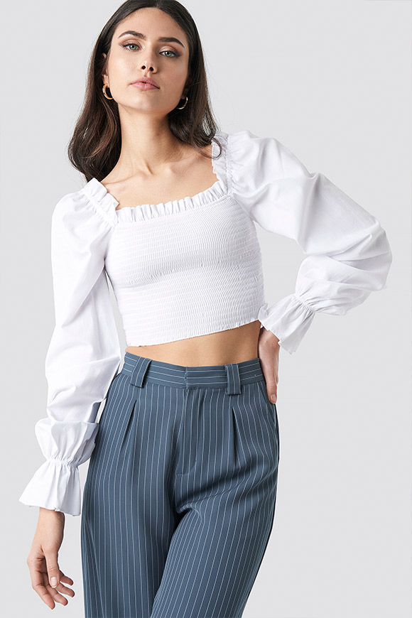 NA-KD - White embossed shirt top