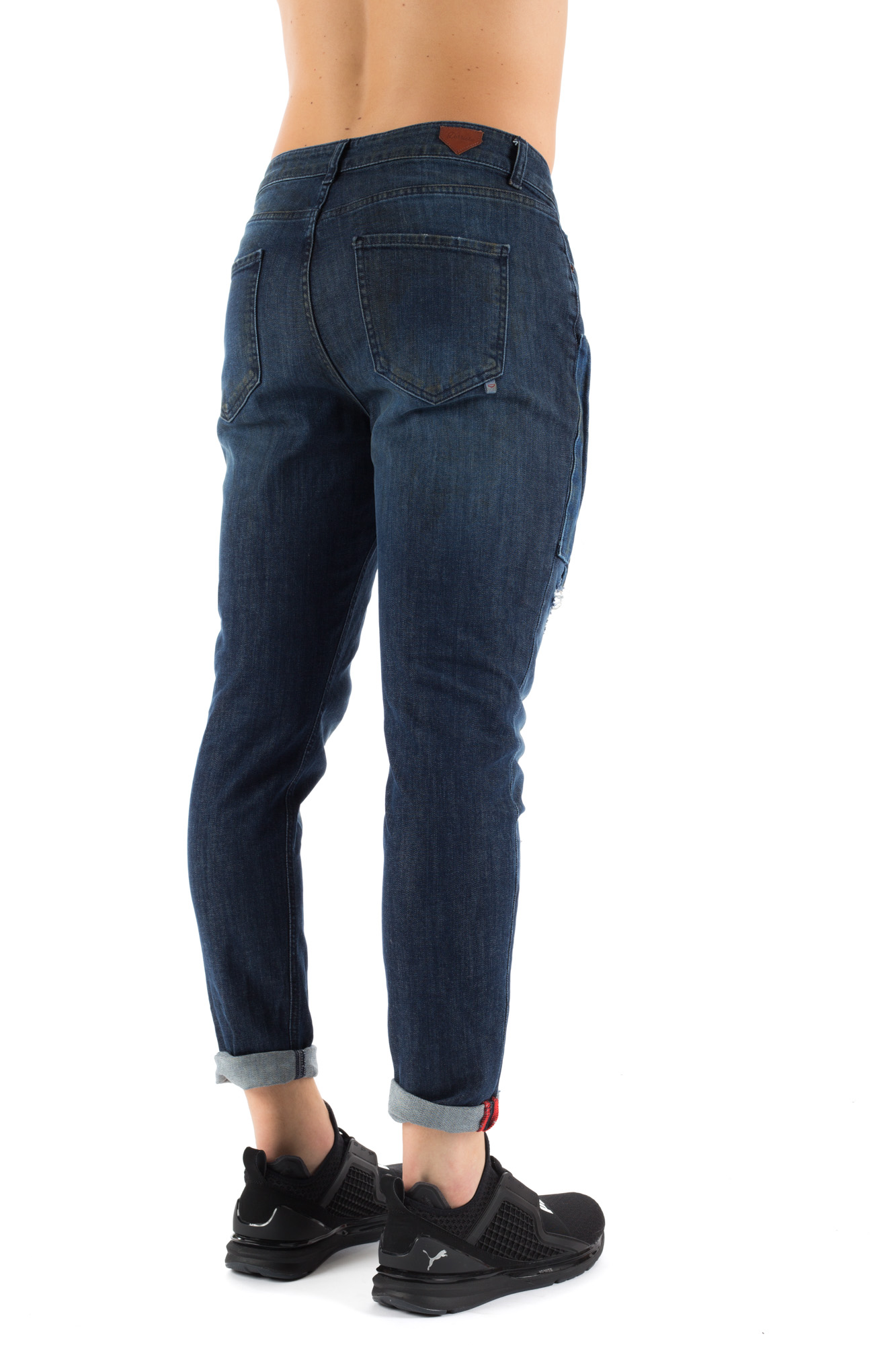 Derrière - Dark stonewashed jeans with patch
