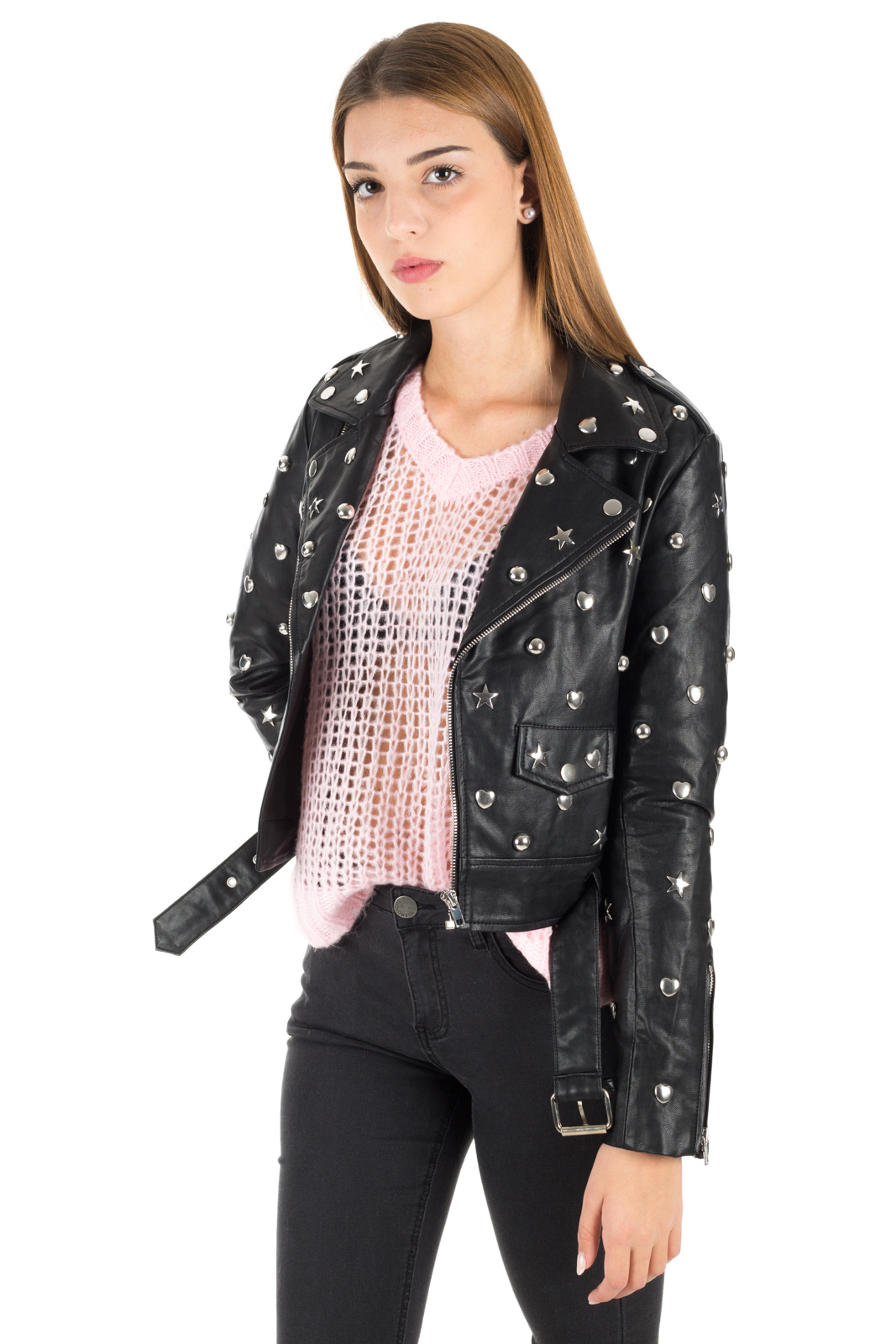 Glamorous - Jacket with heart and star studs