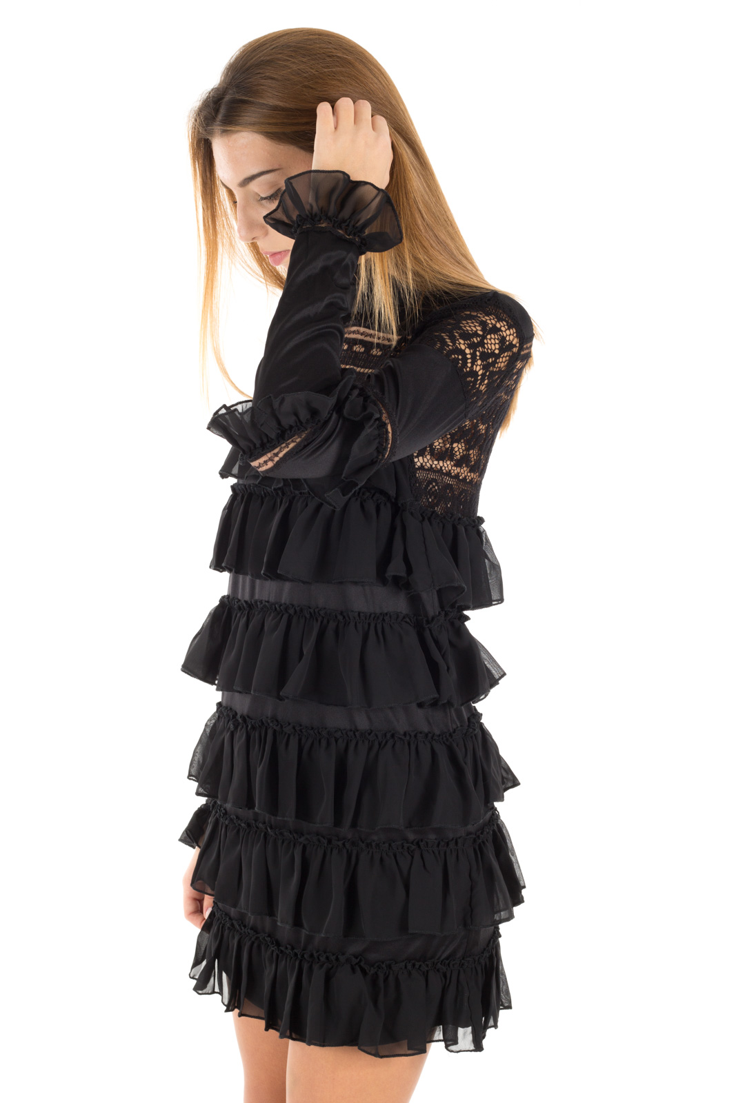 Glamorous - Black embroidery dress with corsets