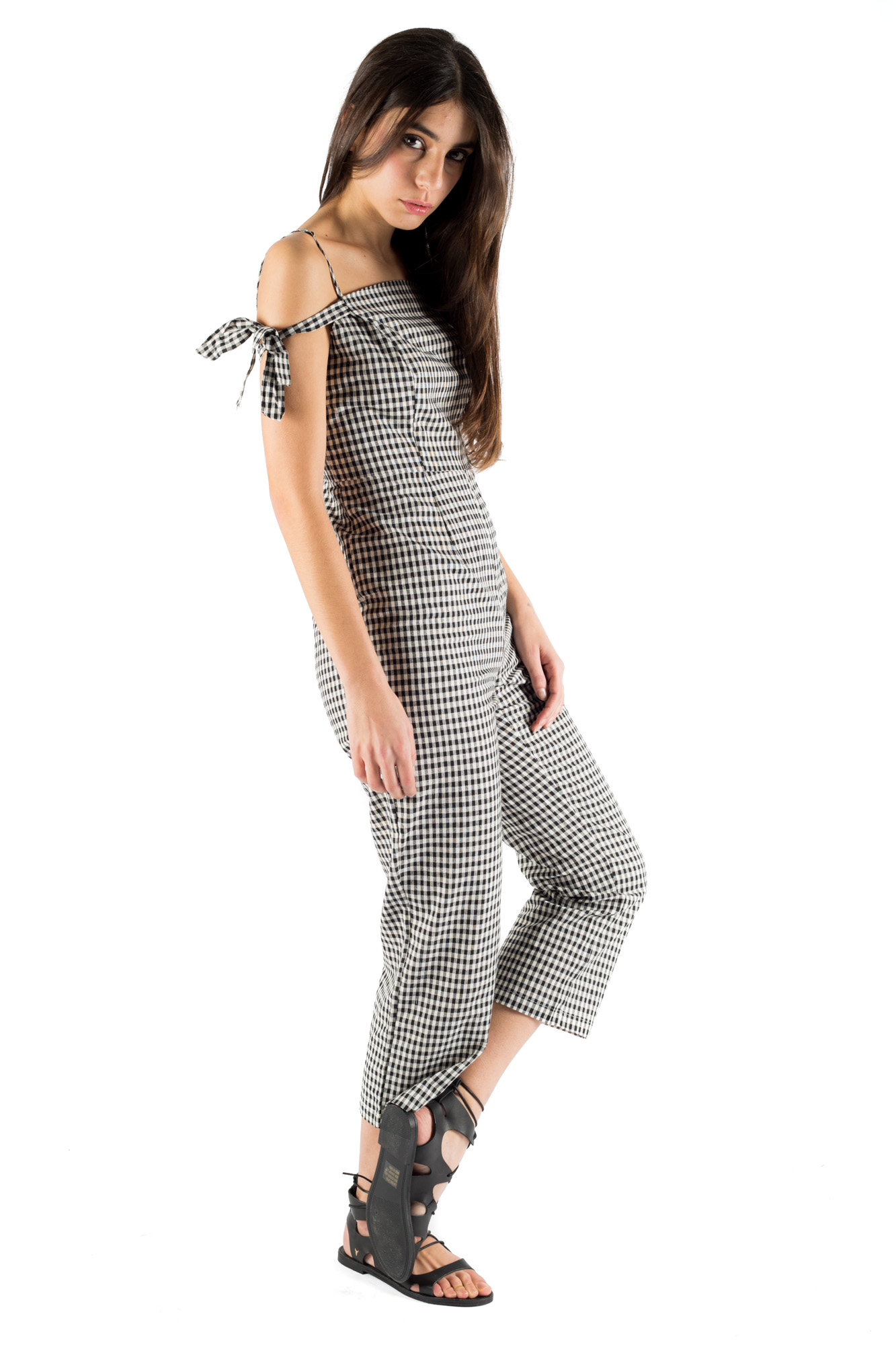 Glamorous - Checked jumpsuit with shoulder bows