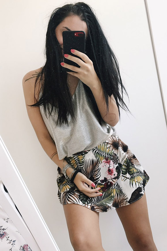 Vicolo - Floral short skirt with flounce