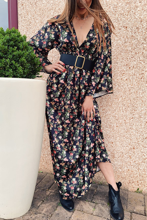 Vicolo - Long black dress with flowers print