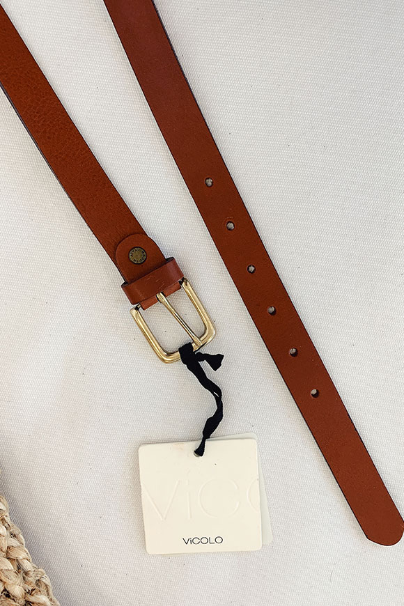 Vicolo - Simple brown low belt with gold buckle