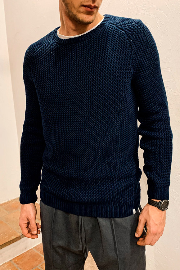 Minimum - Blue vestfold sweater