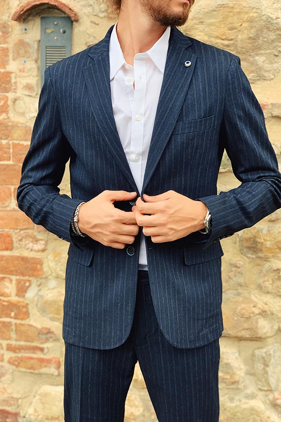 Gianni Lupo - Pinstriped blue full jacket