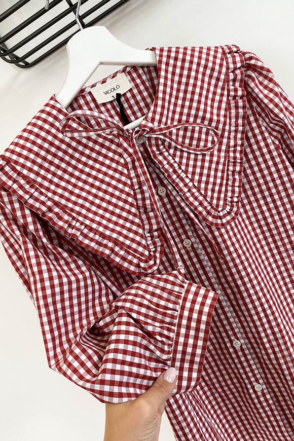 Vicolo - Red and white vichy shirt with collar