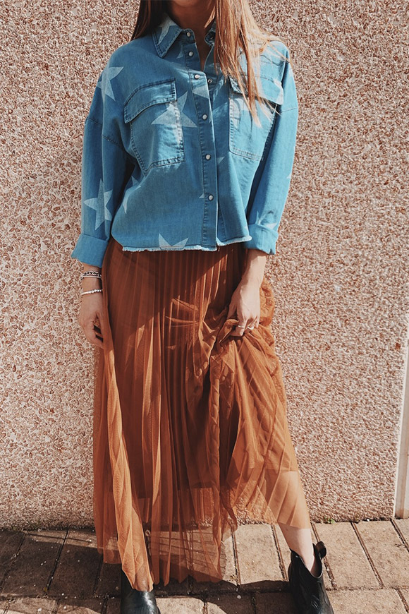 Motel - Pleated tobacco long skirt