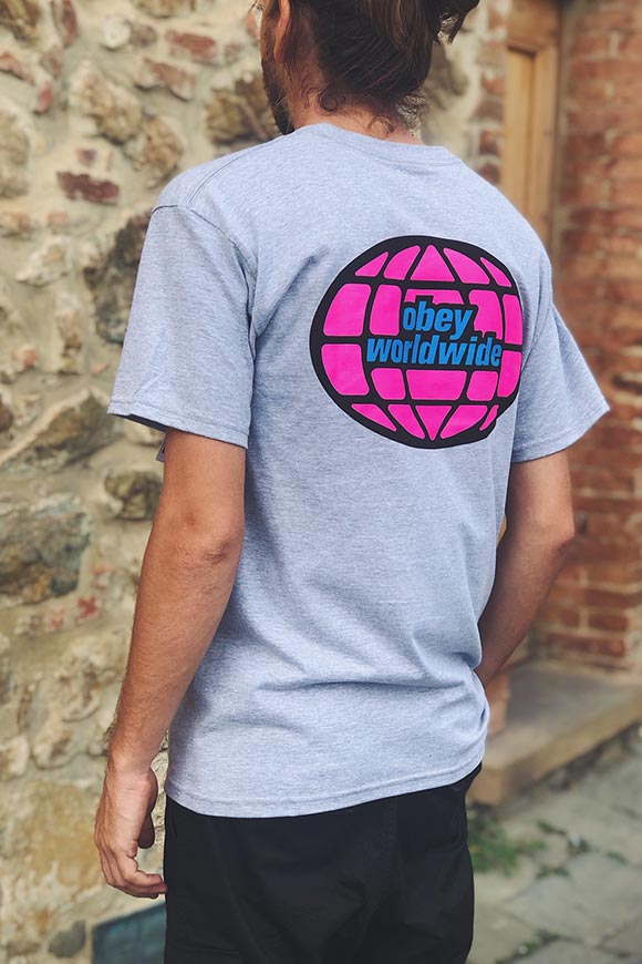 Obey - Gray and fuchsia t shirt